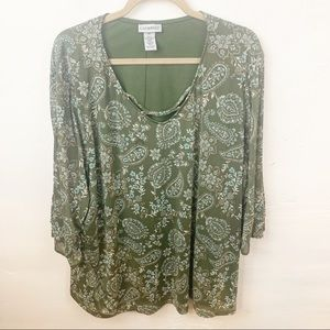 Catherine's l Plus Size Green Floral Paisley Top